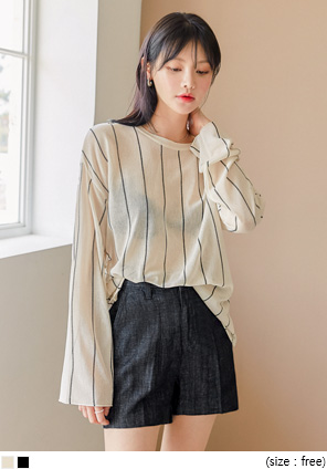 [TOP] DUA STRIPE SEETHROUGH KNIT