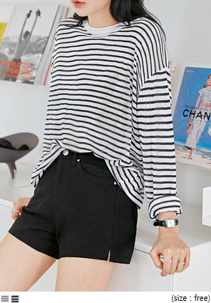 [TOP] LINZY STRIPE SEETHROUGH KNIT