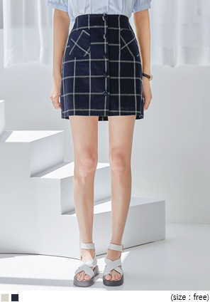 [SKIRT] LIMO LINEN BUTTON CHECK MINI SKIRT