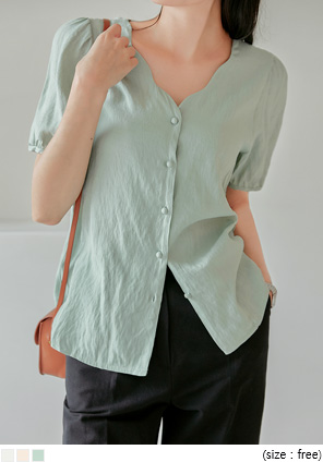 [TOP] LINEN WAVE WRAP BUTTON 1/2 BLOUSE