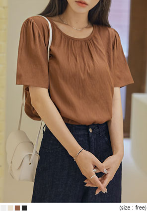 [TOP] MODIA SHIRRING ROUND 1/2 BLOUSE