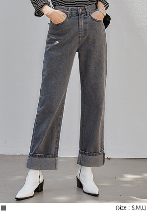 [BOTTOM] DENT ROLL UP DENIM PANTS