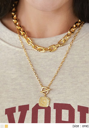 [JEWELRY] DERICK CHAIN LAYERED NECKLACE