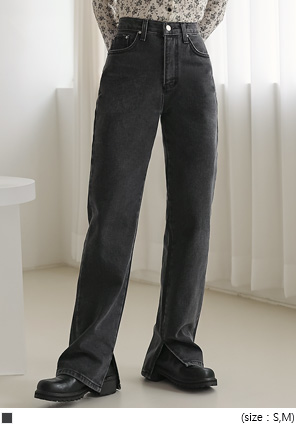 [BOTTOM] SEPIN SLIT LONG DENIM PANTS