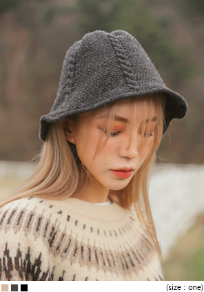 [ACC] TWIST WOOL 80% KNIT BUCKET HAT