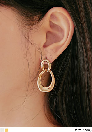[JEWELRY] BION TWO CIRCLE DROP EARRING