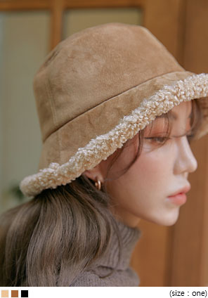 [ACC] HONEY SUEDE FUR BUCKET HAT