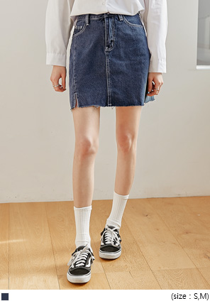 [SKIRT] ROEND CUTTING SLIT DENIM MINI SKIRT