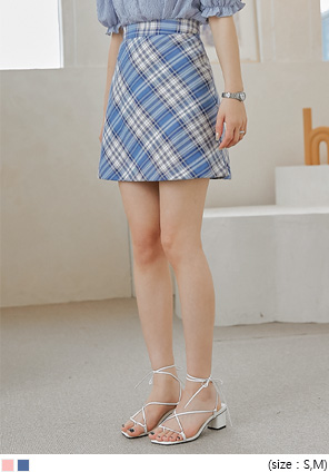 [SKIRT] BOHENIN CHECK A LINE MINI SKIRT